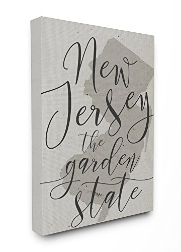 Stupell Industries New Jersey Garden State gedehnt Art Wand, Stolz Made in USA, Leinwand, Mehrfarbig, 40,64 x 3,81 x 50,8 cm, Canvas, Mehrfarbig, 30