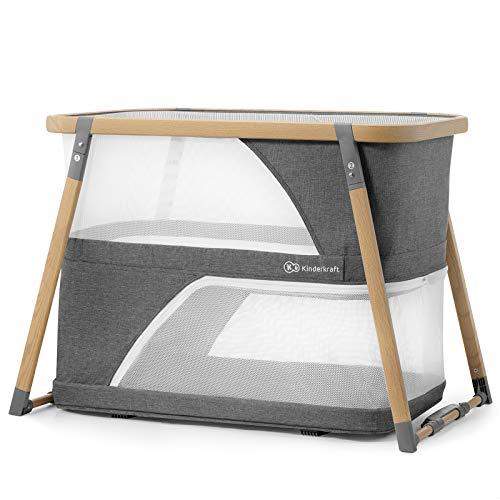 Kinderkraft lettino sofi 4in1 culla da viaggio campeggio pieghevole in 5 secondi facile da montare con accessorri borsa di trasporto per neonati e bambini fino 15 kg certificato intertek grigio