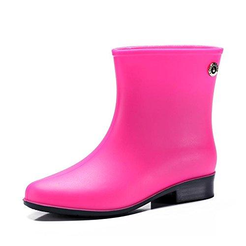 Womens Rubber Welly Shoes Rain Boots Garden Rain Snow Scarpe impermeabili in PVC per esterni Red