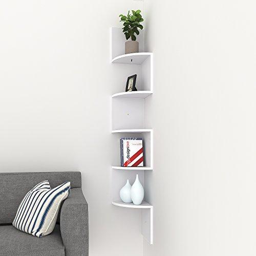 Tomasa 5 Stufen Ecke Regal Wandhalterung schwimmenden Organizer Display Unit CD DVD Regal Media hänge Regal Wand Lagerregal (Weiß)