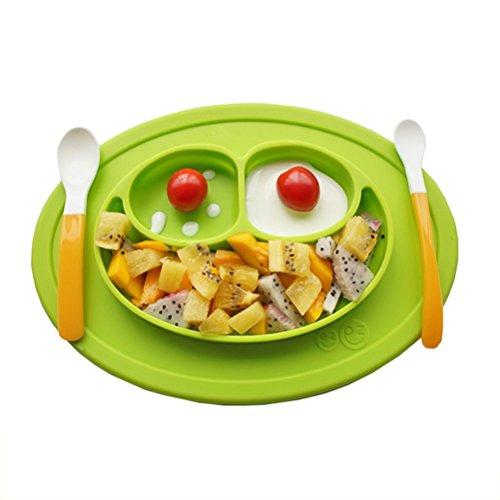 CDKJ Baby Platzdeckchen grün Frosch Teller 3-Sektion Essenplatte und Platzmatte aus FDA-zertifiziert Silikon Rutschfeste Schüssel Tischset Tischunterlage Untersetzer Kinder Babyteller Kinderteller Babyschale Teller-Unterlage-Kind - Desinfizieren Geschirrspüler
