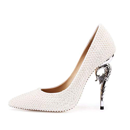 High Diamond-Verkrustete Perle Damen Kleid Schuhe Party-Schuhe Kleid Party Court Shoeswedding Schuhe Flacher Mund High Heels,White,39 ()