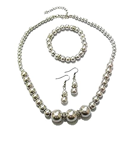Light Grey Pearl Diamante Crystal Necklace Bracelet Earrings Bridesmaid Dress