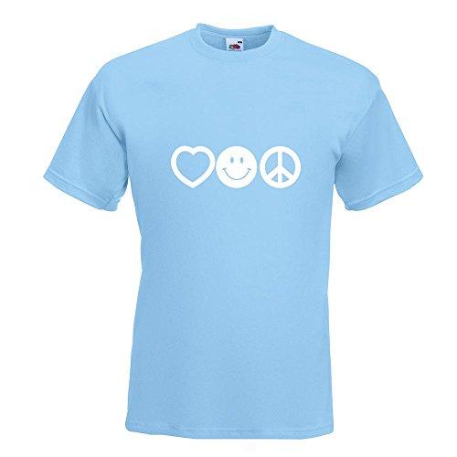KIWISTAR - Love Happy Peace - Liebe Glück Frieden T-Shirt in 15 verschiedenen Farben - Herren Funshirt bedruckt Design Sprüche Spruch Motive Oberteil Baumwolle Print Größe S M L XL XXL Himmelblau