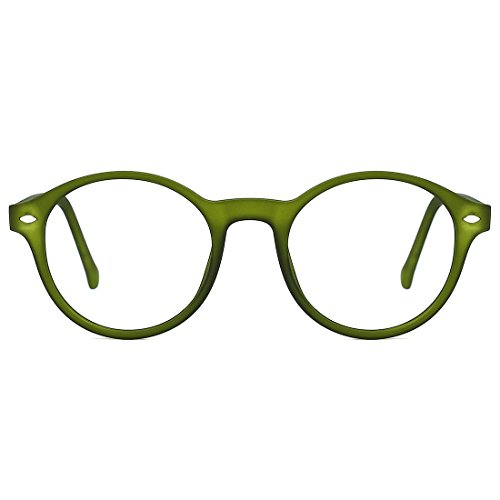 TIJN Uomo Donna Vintage Occhiali Rotondi Montatura per Occhiali da Vista Lenti Chiare Verde