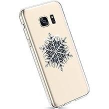 YSIMEE Fundas Samsung Galaxy S7 Plus Carcasas,Fundas Transparente Silicona Suave Ultra Fina Delgado Gel Bumper TPU Goma Estuches Protectora Carcasas-Copo de nieve negro