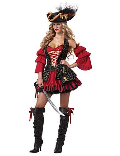 Piratin Kostüm Schwarz Gold - KULTFAKTOR GmbH Edles Piratin Damen-Kostüm rot-Gold-schwarz