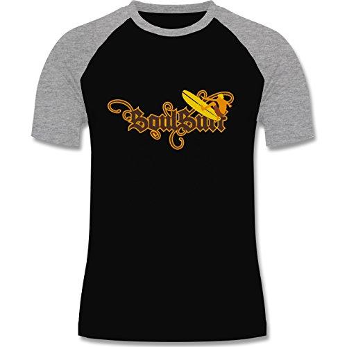 Wassersport - Surfer - zweifarbiges Baseballshirt für Männer Schwarz/Grau Meliert