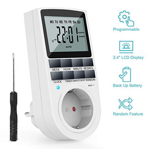 TedGem Presa Temporizzata, Presa Timer Digitale Programmabile 2200W 24h timer elettronico digitale modalità casuale antifurto Risparmio di energia per le luci e per tutti i dispositivi domestici