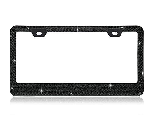 Shining 13Reihen (max-1377Kristallen) schwarz diamond Encrusted über die Chrom Beschichtung Metall Nummernschild Rahmen mit gratis Kappen (Black Diamond License Plate)