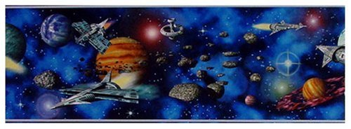 A.S. Création Bordüre Only Borders Papier Space Shuttle`s in Universe 5,00 m x 0,17 m blau bunt Made in Germany atmungsaktiv...