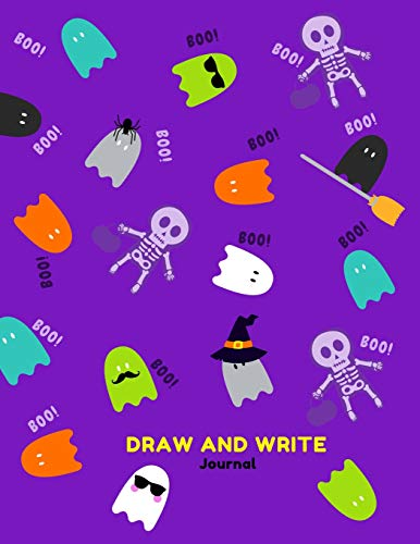 Draw and Write Journal: Primary Composition Notebook for Kids with Date and Dot Grid Drawing Area | Purple Halloween Fancy Design