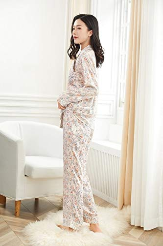 OLLOLCCY Damen-Pyjamas aus 100% Baumwolle, langärmliges, gewebtes Nachthemd, Bedruckte Nachtwäsche für Damen, Nachtwäsche mit Knöpfen,S - Baumwolle Gewebte Pyjama-set