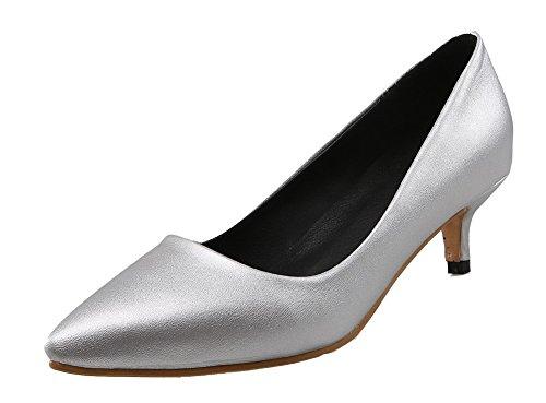 AgeeMi Shoes Damen Ziehen auf PU Niedriger Absatz Rein Pumps Schuhe,EuD65 Silber 37