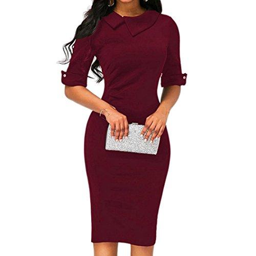 verfügbaren Angebote,Kleider Ronamick Frauen Retro Bodycon unter dem Knie Formale Büro Kleid Pencil Kleid mit Rücken Reißverschluss (Wein rot, M)