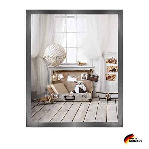 Woody Deluxe Massivholz Bilderrahmen Posterrahmen 25x35 cm Platin 35x25 cm mit weissem Hintergrund und klarem Acrylglas