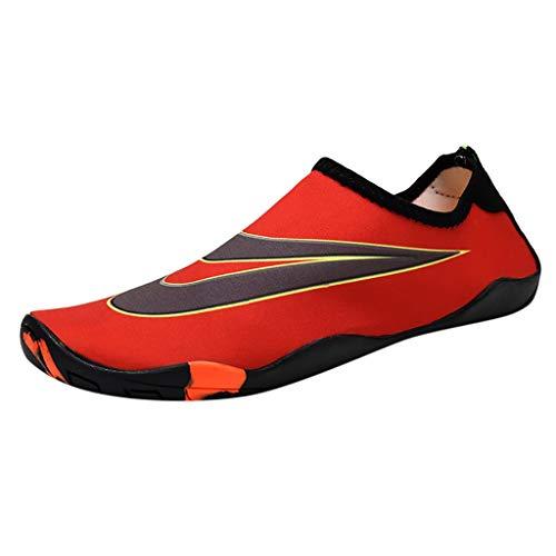 TianWlio Badeschuhe Herren Damen Strandschuhe Wasserschuhe Aquaschuhe Schwimmschuhe Surfschuhe Paar Strandschuhe Schwimmen Schuhe Wasserschuhe Barfuß Schnell Trocken Aqua Schuhe Rot 35 - Red Wing Herren-casual-schuhe