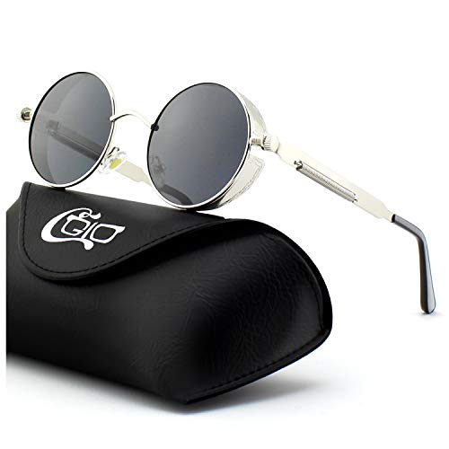 CGID E72 Lunettes de Soleil Polarisées Inspirées du Style Retro Steampunk  en Cercle Métallique Rond UV400 02489bcf67b1