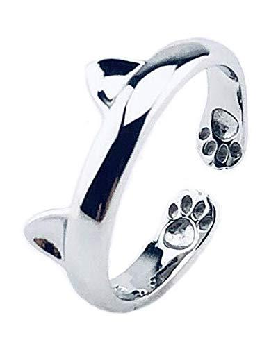 Louis Aury Frauen Katzen Ring | 925 Silber | Größenverstellbar | Für Sie | Katzen Liebe Pfoten | Kostüm Accessoire | Schenken Valentinstag Weihnachten Geburtstag | inkl. Geschenk/Schmuck-Box