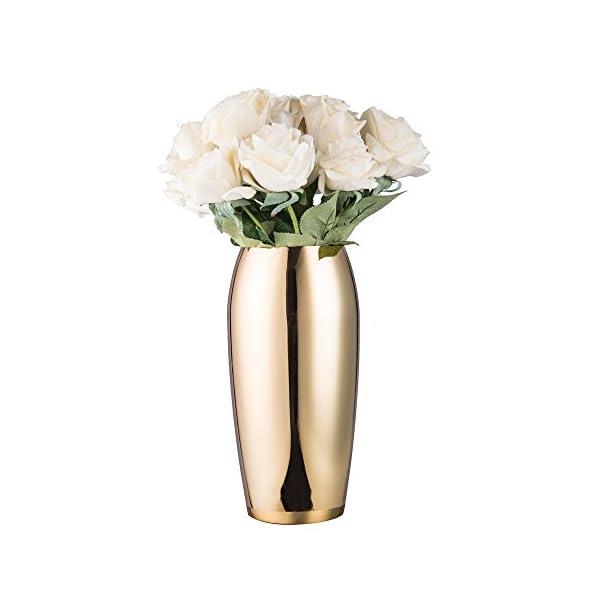 IMEEA flores jarrón acero inoxidable florero decorativo para casa, fiesta, boda centro de mesa, H24cm oro