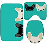 X-Life 3-Teiliges Badezimmer Teppich Set–Badematte 40x50cm + Badteppich 50x80cm + WC-Deckel-Bezug 35x45cm–Badematten Rutschfest & Waschbar mit Ausschnitt, aus Microfaser Cartoon-Muster Hund Turquoise