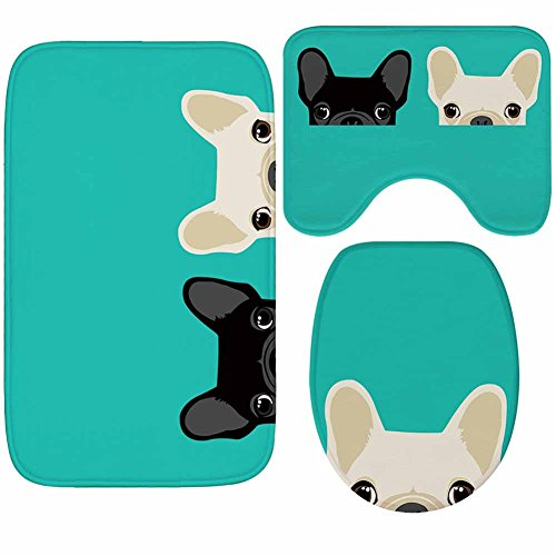 X-Life 3-Teiliges Badezimmer Teppich Set–Badematte 40x50cm + Badteppich 50x80cm + WC-Deckel-Bezug 35x45cm–Badematten Rutschfest & Waschbar mit Ausschnitt, aus Microfaser Cartoon-Muster Hund Turquoise (Coin Set Hund)