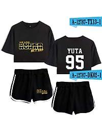 Florwesr Verano Pijamas de Ropa Deportiva de Ocio de Yoga la impresión Expuestos Traje de Pantalones Cortos de Manga Corta Ombligo (Color : 34 Sets, Size : M)