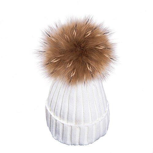 Yidarton Frauen Mädchen Strickmütze Pelzmütze Echt Große Waschbär Pelz Pom Pom Beanie Hüte Winter (Weiß)