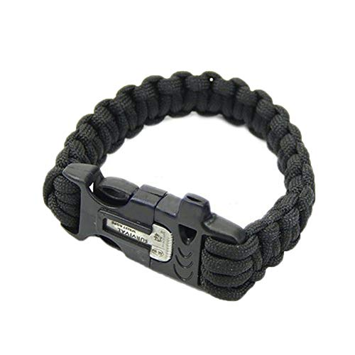 Zonfer Multifunktionsüberlebens-Armband mit Flint Feuer-Starter-Eintrag Scraper Whistle Getriebe Kit