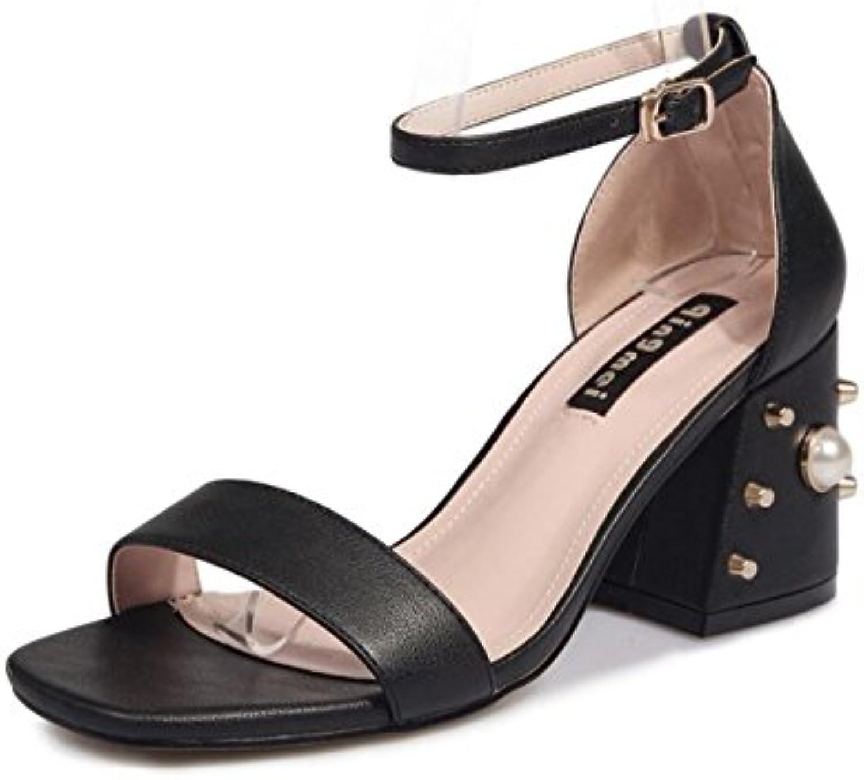DANDANJIE Zapatos de Mujer Sandalias Vintage Summer High Heels Bohemia Zapatos Block Peep Toe Ladies Tobillo Correa...