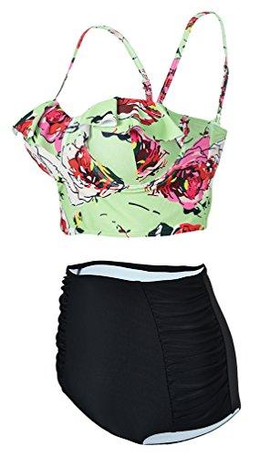 EmilyLe Donna Vintage Bikini Costume da Bagno con vita alta stampa floreale Verde Fiore