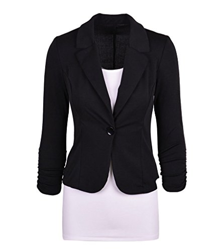 Smile YKK Tailleur Femme Chic Costume Veste Courte Manteau Manches Longues Bouton Amincissant Noir