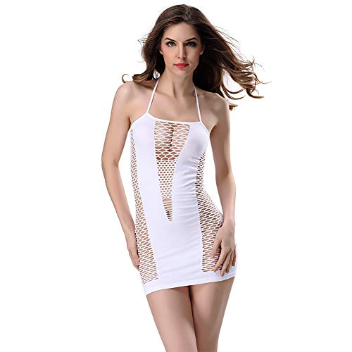 SADA72 Damen Sexy Kleid für Valentinstag, Netz, sexy Dessous, Pyjama mit Spitze, Nachtwäsche, Nachtwäsche, Kleid, weiß, Free Size