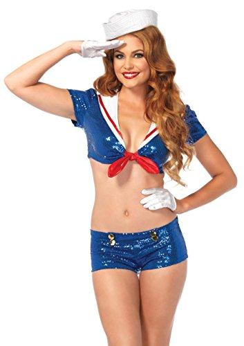 LEG AVENUE 53206 - Pailletten Matrose Kostüm, Größe XS, blau/weiß (Kostüm Halloween Seemann Schuhe)