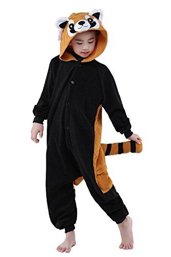 Pyjamas Combinaisons Animaux Garçons Filles Dormeurs Kigurumi Enfants Pyjamas Vêtements Onesie (Panda Roux, 125 Adapté pour hauteur 138-149CM)