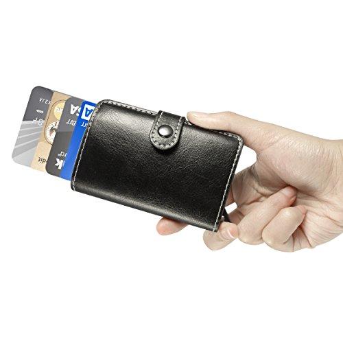 Herren Geldklammern - ManChDa Männer Schwarz RFID Kreditkarte Halter Automatisch Pop-up Aluminium Blockieren Leder Fall Geschäft Schlank Mini Brieftasche Mens Wallets Kreditkarten