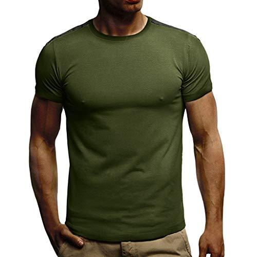 Xmiral Camicia Uomo Elegante Maglietta Manica Corta Casual O Collo - T-Shirt Uomo Sportivi Vintage Stretch Maglione Uomo Estiva Particolari Magliette Corte buona qualità S Verde