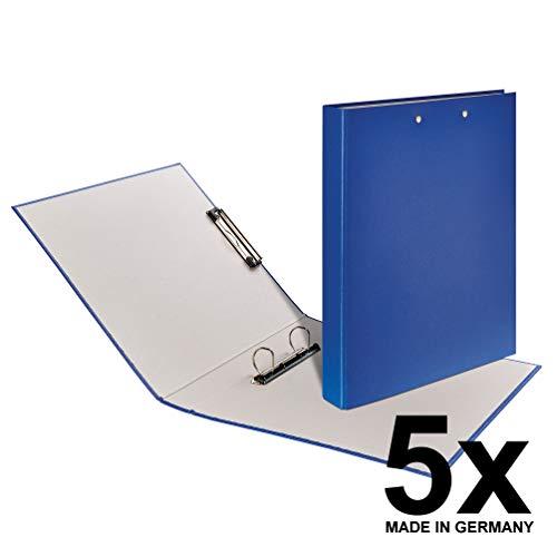 Falken Clipbook 5er Pack PP-Color Kunststoff-Ringbuch mit einer 2 Ring D-Mechanik und einer Metallklemme DIN A4 Füllhöhe 25 mm blau Ring-Ordner Hefter Plastikordner Klemmbrett