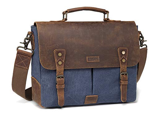 Umhängetasche Herren, VASCHY Casual Echtes Leder Segeltuch Schultertasche passt 14 Zoll Laptop Aktentasche Unisex Kuriertasche Laptop Tasche mit Abnehmbarem Gurt Blau -