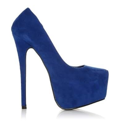 Bleu électrique Effet daim: Chaussures et Sacs