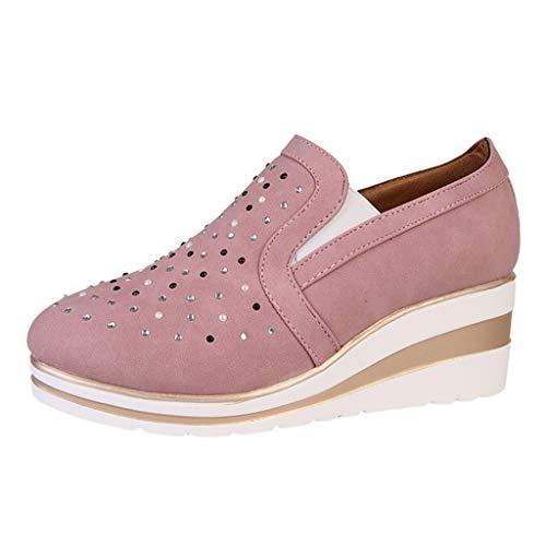 Luckycat Deportivo Piel Plataforma Mujer Zapatos Planos con Cordones Mujer Brogue Zapato Mujer Mocasines...