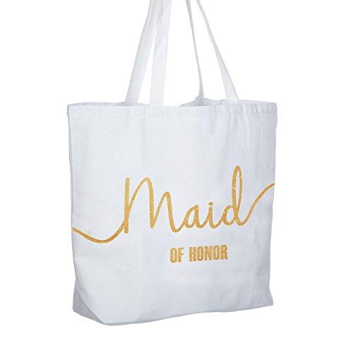 ElegantPark Maid of Honor Brautjungfern Schultertasche Hochzeit Weiße Geschenke Tasche mit Gold Glitzer 100% Baumwollen 1 Stück