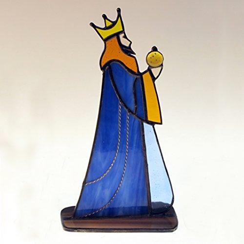 Figura Rey Gaspar de vidrio emplomado. 10 cm x 20 cm