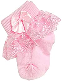 Calcetines de Encaje con Volantes, Calcetines de Encaje para niños Calcetines de algodón para recién Nacidos Calcetines para bebés Lindos para niñas