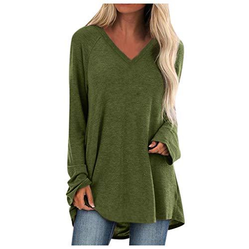 GOKOMO Damen Oberteile v-Ausschnitt Langarm Tshirt Bluse t-Shirt Pullover top Oberteil shirtUnregelmäßiger Tops Strickpulli Herbst und Winter Sweatshirt(Grün,Large)