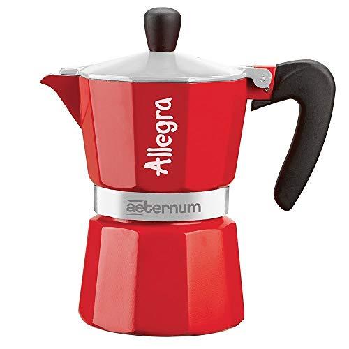 Bialetti Allegra Caffettiera Espresso per 6 Tazze, Alluminio, Rosso, 17 x 10 x 21 cm