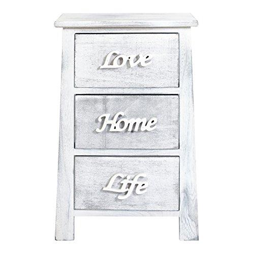 Rebecca srl comodino mobiletto con 3 cassetti bianco grigio shabby chic camera arredo casa (cod. re4565)