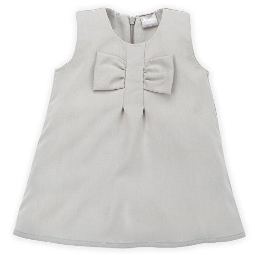 Polyester-mix (Pinokio - Celebrity Girl- Kleid festlich - Baby, Mädchen - Viskose, Polyester Mix - Weiß Creme oder Grau mit Schleife und Reißverschluss, Kleidchen ärmellos, Taufe - Taufkleid Girls (Grau, 80))