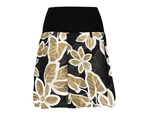 dunkle design Damen Ballonrock Schwarz Blumen (XS)