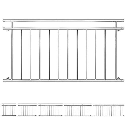 Balustrade De Balcon Fenêtre Gril Français Main Courante Acier Inoxydable 90 x 100/128/156/184/225 cm V2Aox, Width:156 cm